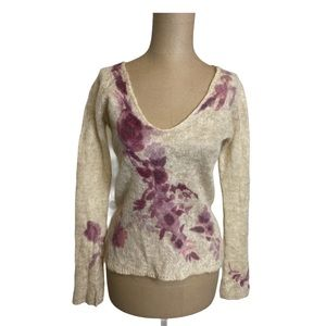 Ann Taylor Soft Knit Cream and Pink Floral Sweater
